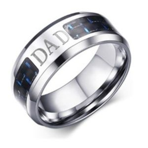 """Other - Engraved """"Dad"""" Stainless Steel Ring (9)"""